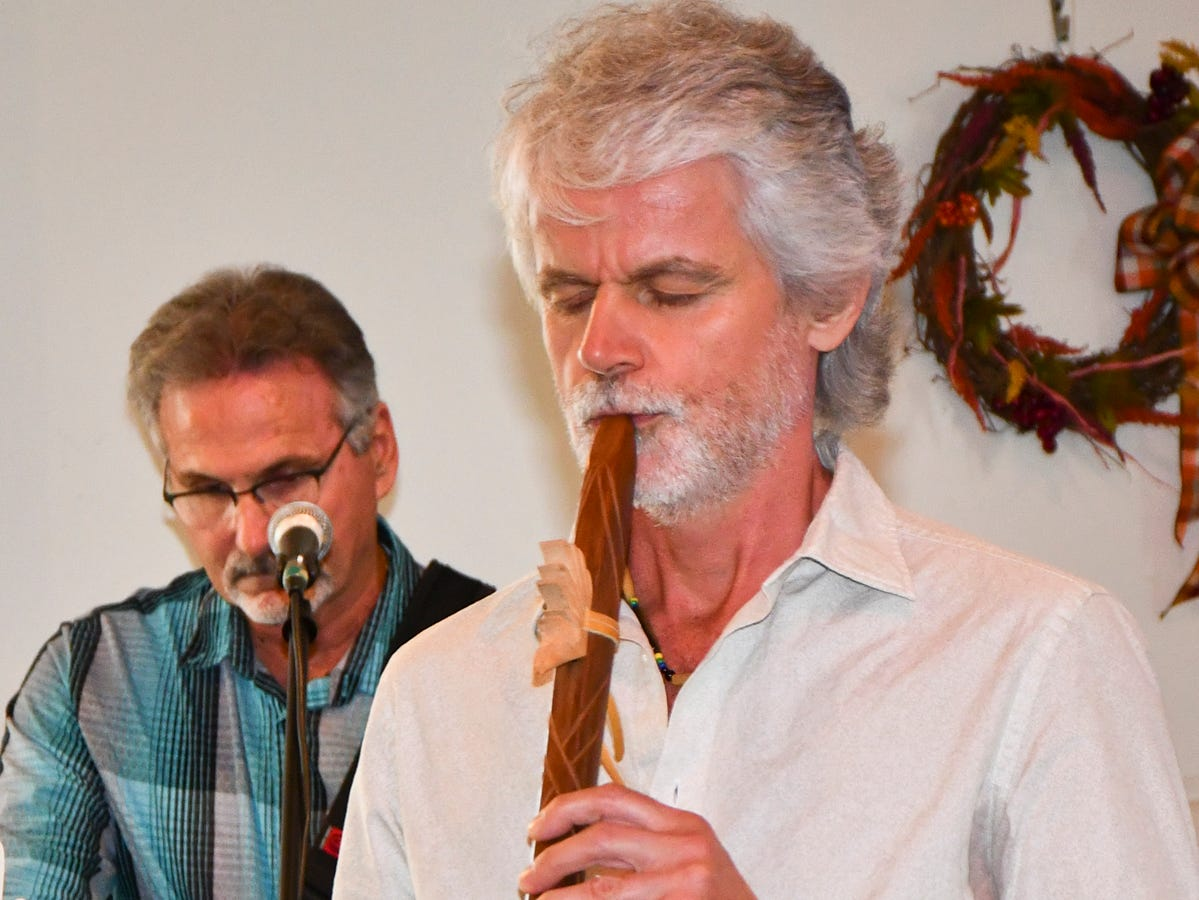 David Crandall plays a Native American flute at the Interfaith Alliance of the Treasure Coast's second annual Thanksgiving Service on Nov.18.