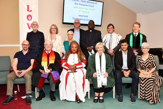 Members of the Interfaith Alliance of the Treasure Coast who participated in the 2018 Thanksgiving Service, from left, seated, John Pellicci, Rev. Paul Johnson, Rev. Charmaine Davis, Rev. Cher Trenholme, Amr Nazim and Marcia Drut-Davis; standing, Kevin McLaughlin, Rev. Jude Denning, Roberta Scott, George Via, the Rev. Yves Geffrard, Rabbi Matthew Durbin and Rev. Jeff Bennett.