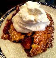 Lady Ann's cobbler of the day was peach raspberry. It was brimming with fresh fruit and vibrant flavor with a sweet crumble topping, whipped cream and powdered sugar