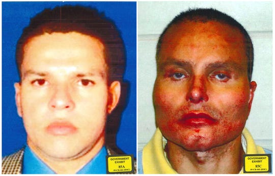 """This combination of undated photos provided by the U.S. Attorney's Office for the Southern District of New York shows former Colombian drug lord Juan Carlos Ramirez Abadia. The latest star witness for the government in the trial against Joaquin """"El Chapo"""" Guzman has been more notable for his appearance than his testimony. He told the jury that he had at least three surgeries to change his appearance. The photo at left shows him before his surgeries and the photo at right is post-surgery."""