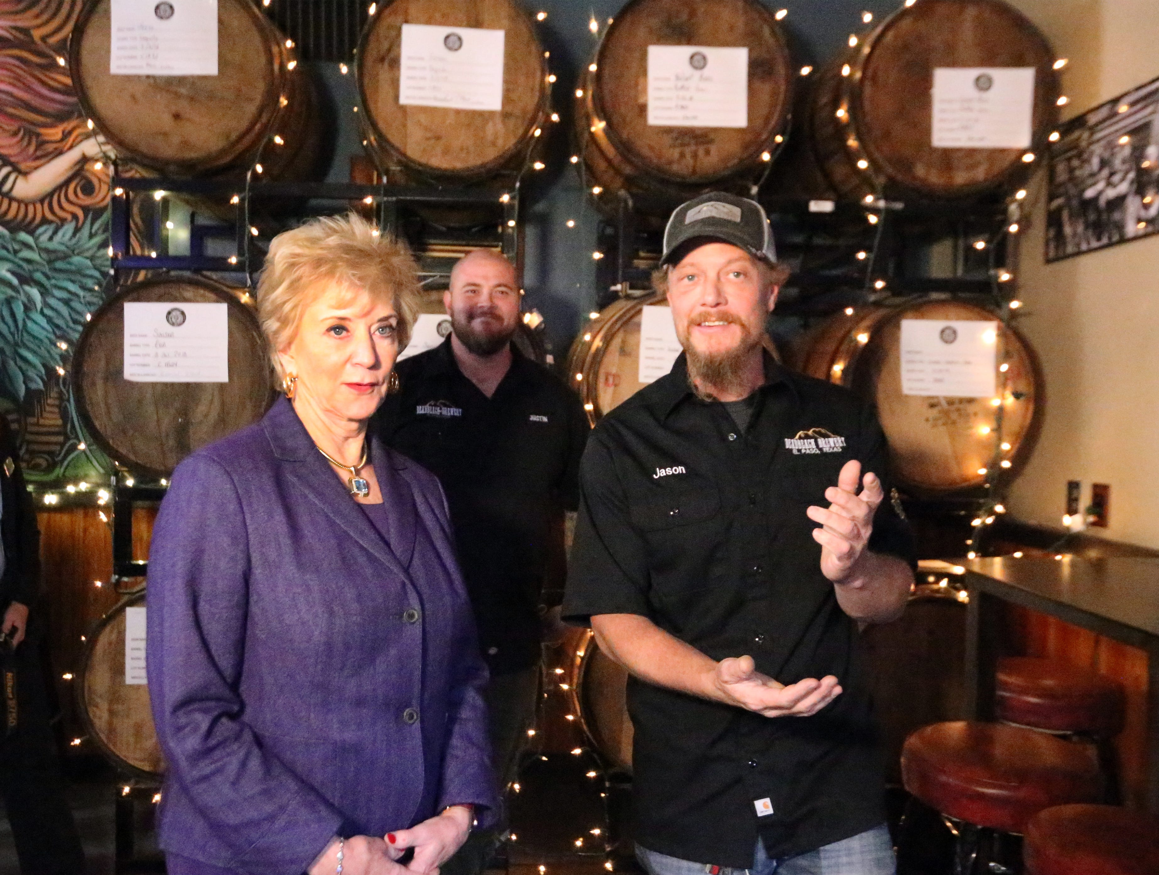 U.S. Small Business Administration director Linda McMahon takes a tour of DeadBeach Brewery at 406 Durango Street with co-owner Jason Hunt during a visit to El Paso Tuesday. In background is co-owner Justin Ordoñez.