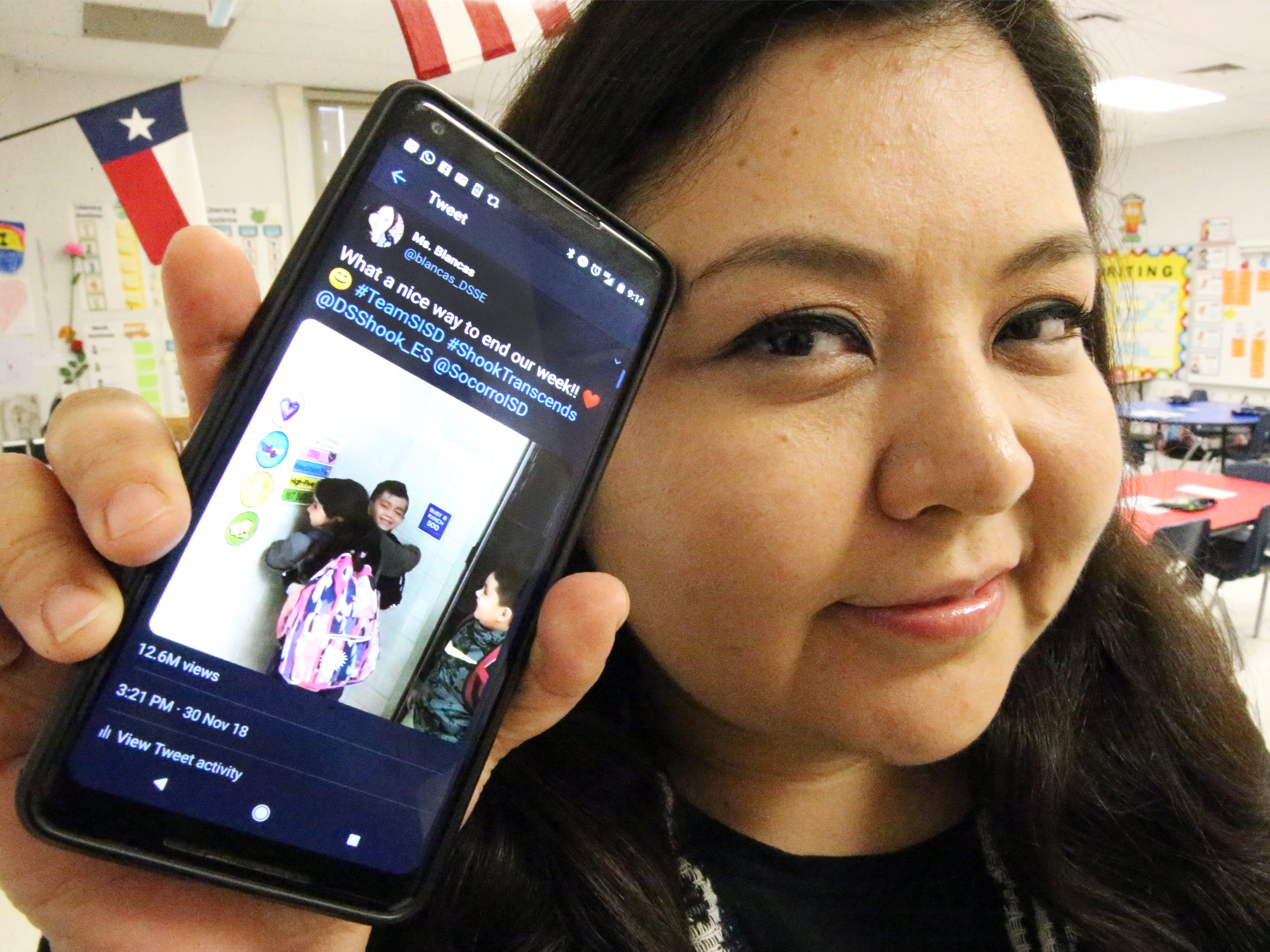 Zelene Blancas, a first-grade bilingual teacher at Dr. Sue Shook Elementary School in far East El Paso, shows the Twitter video she posted of her class that has gone viral with more than 13.6 million views.