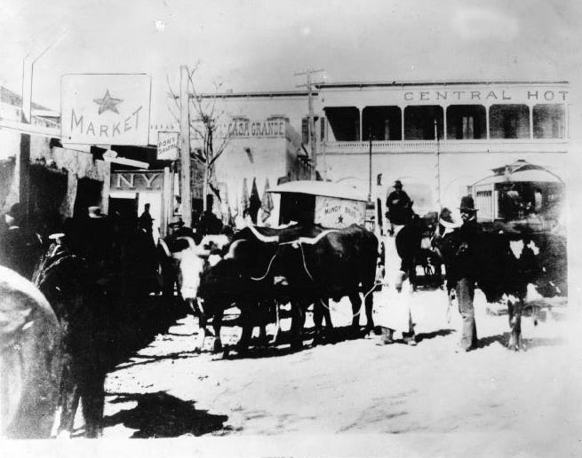 "El Paso, Texas, circa 1883. The southwest corner of ""Little Plaza,"" now Pioneer Plaza. The Pony Saloon was near the corner of West San Francisco Street. Central Hotel was on site of the Plaza Theater and McCoy Hotel."