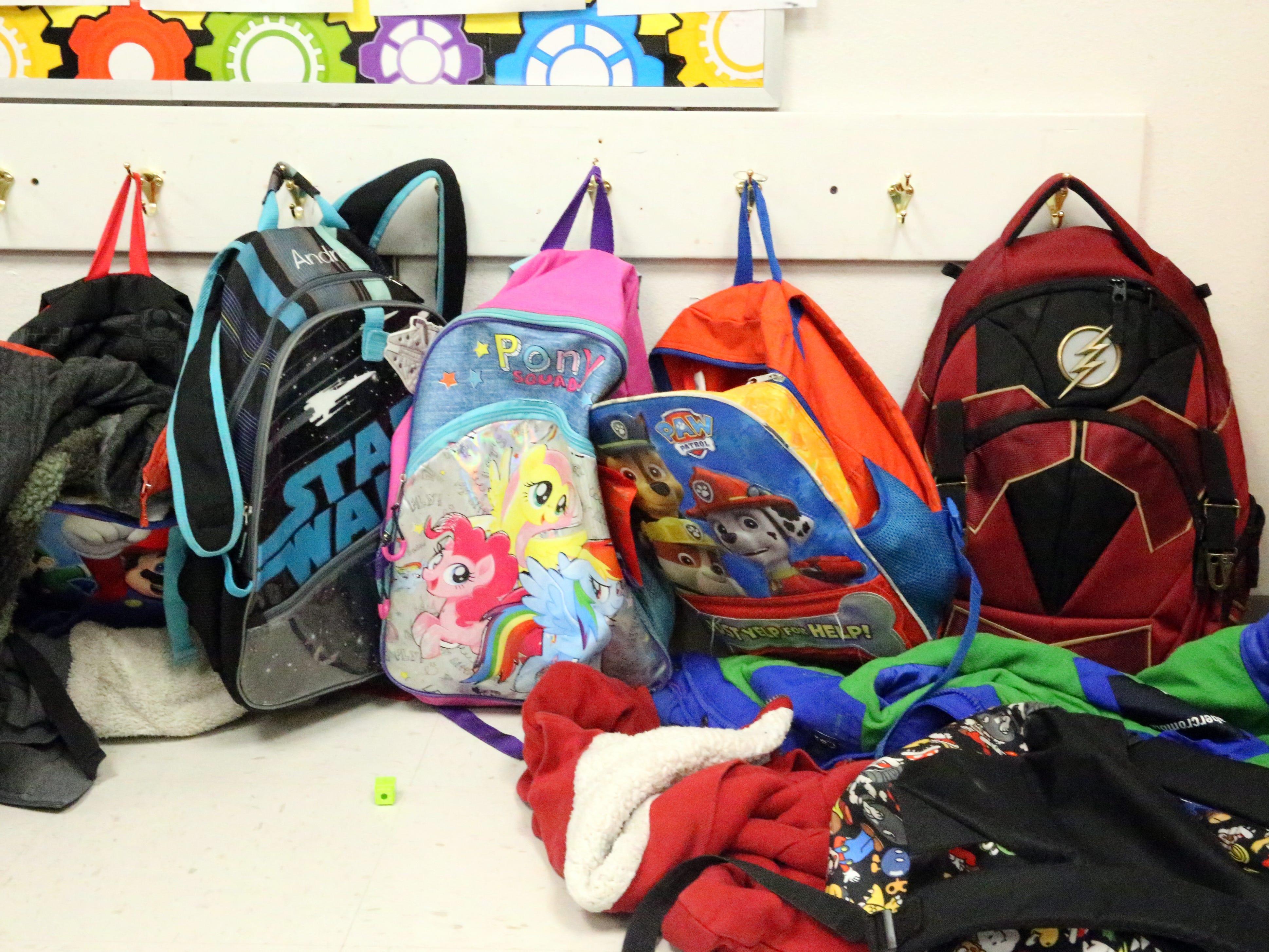 Backpacks in Zelene Blancas' first grade class.