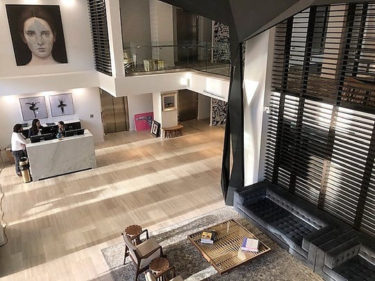 The large, airy lobby of the new Stanton House boutique hotel features a large sculpture, right, from Mexico City. The hotel, at 209 N. Stanton St., in Downtown El Paso, is now open.
