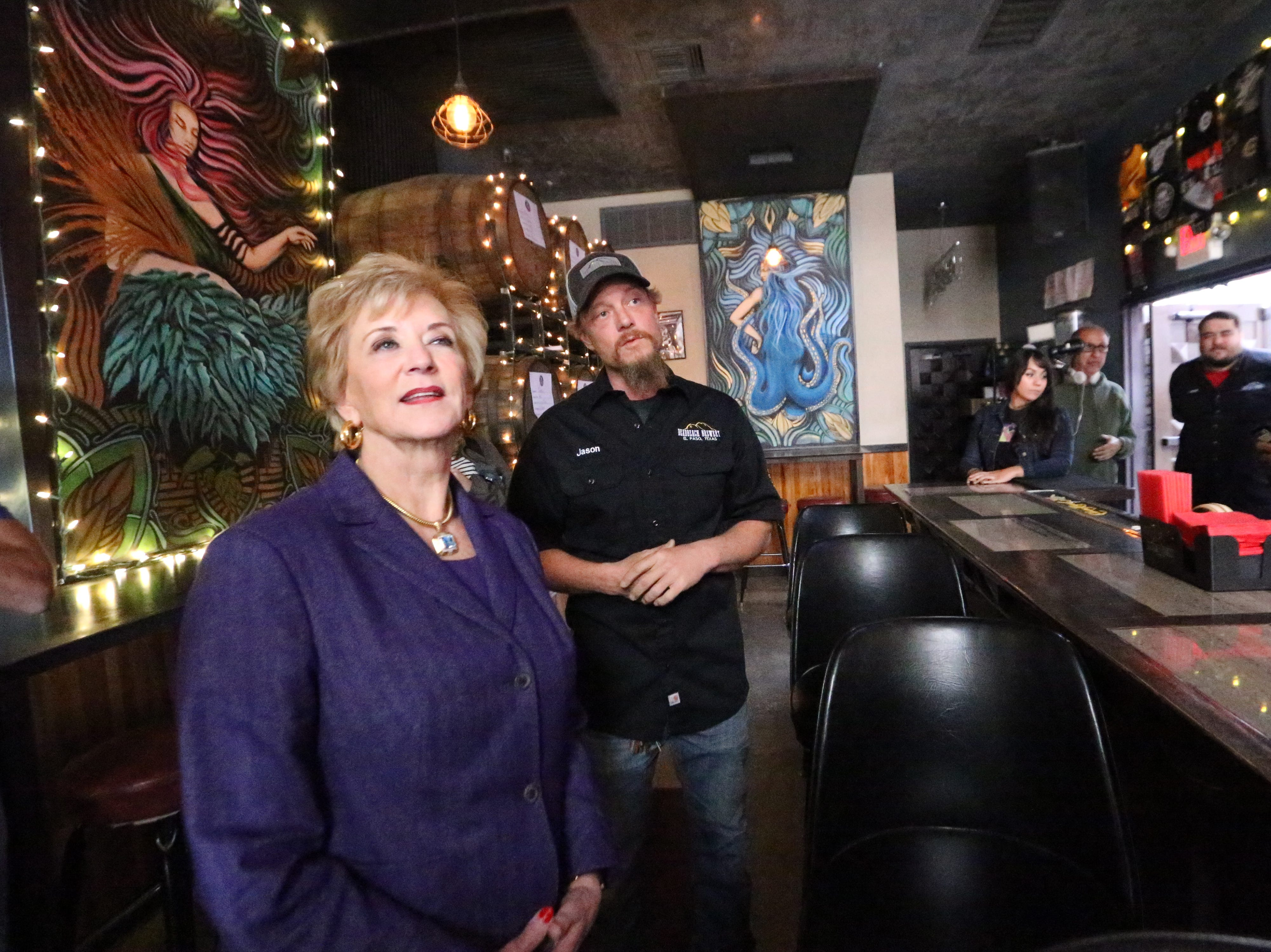 U.S. Small Business Administration director Linda McMahon takes a tour of Deadbeach Brewery at 406 Durango Street with co-owner Jason Hunt during a visit to El Paso Tuesday.
