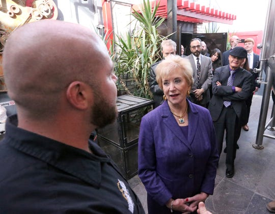 U.S. Small Business Administration director Linda McMahon takes a tour of DeadBeach Brewery at 406 Durango Street during a visit to El Paso Tuesday.