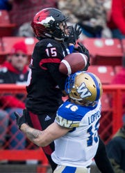 Cal Lutheran graduate Eric Rogers (15) was a top receiver for the Calgary Stampeders, who won won the Grey Cup on Nov. 25.
