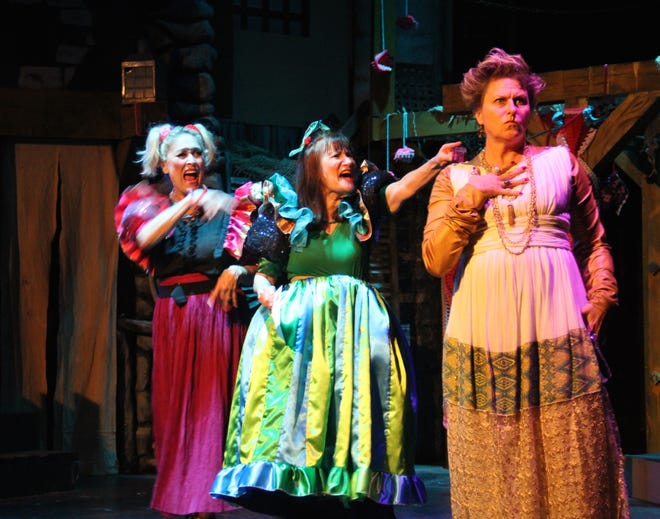 """Sheila McCarthy, from left, and Marilyn Lazik play the evil stepsisters and Marisa Miculian plays Mrs. Baden-Rotten, also the evil stepmother, in the Ojai Art Center's production of """"Cinderella."""""""