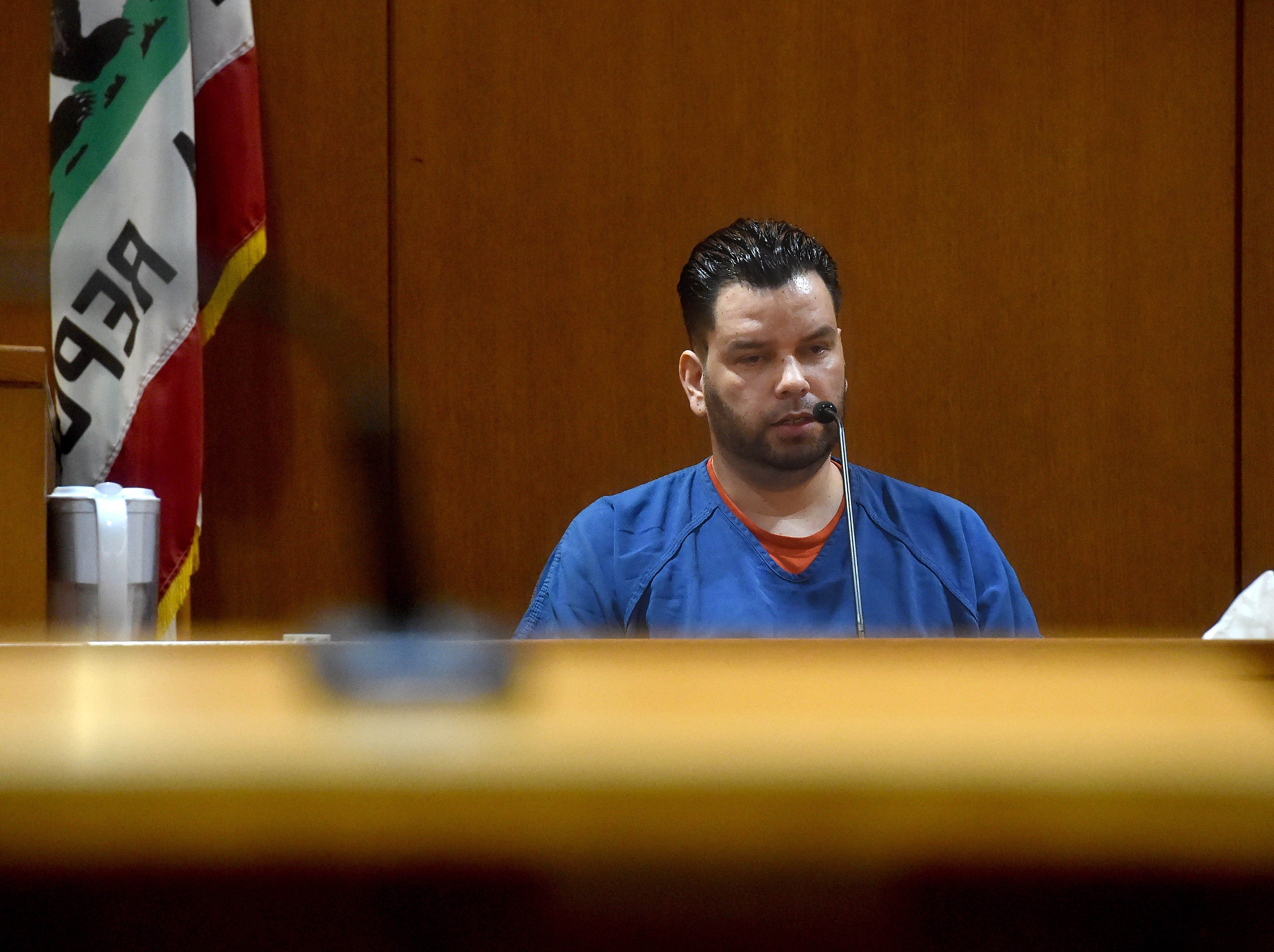 Omar Lopez, of Oxnard, testifies Monday during the trial of Mayra Chavez. She has pleaded not guilty to second-degree murder in the death of her and Lopez's daughter Kimberly.