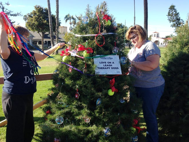 Pam Allison and Denise Riley, volunteers with the nonprofit organization Love on a Leash, hang decorations on a Christmas tree they sponsored for Holidays at the Plaza, an event at Plaza Park in Ventura running Dec. 7 through Jan. 2 at Plaza Park in Ventura. The event showcases more than 100 elaborately decorated trees, as well as several holiday-themed activities.