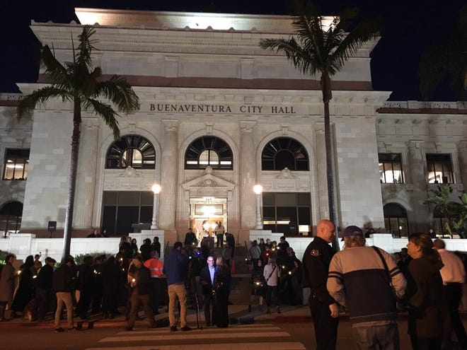 A crowd gathers at Ventura City Hall on Monday night to commemorate the one-year anniversary of the Thomas Fire.