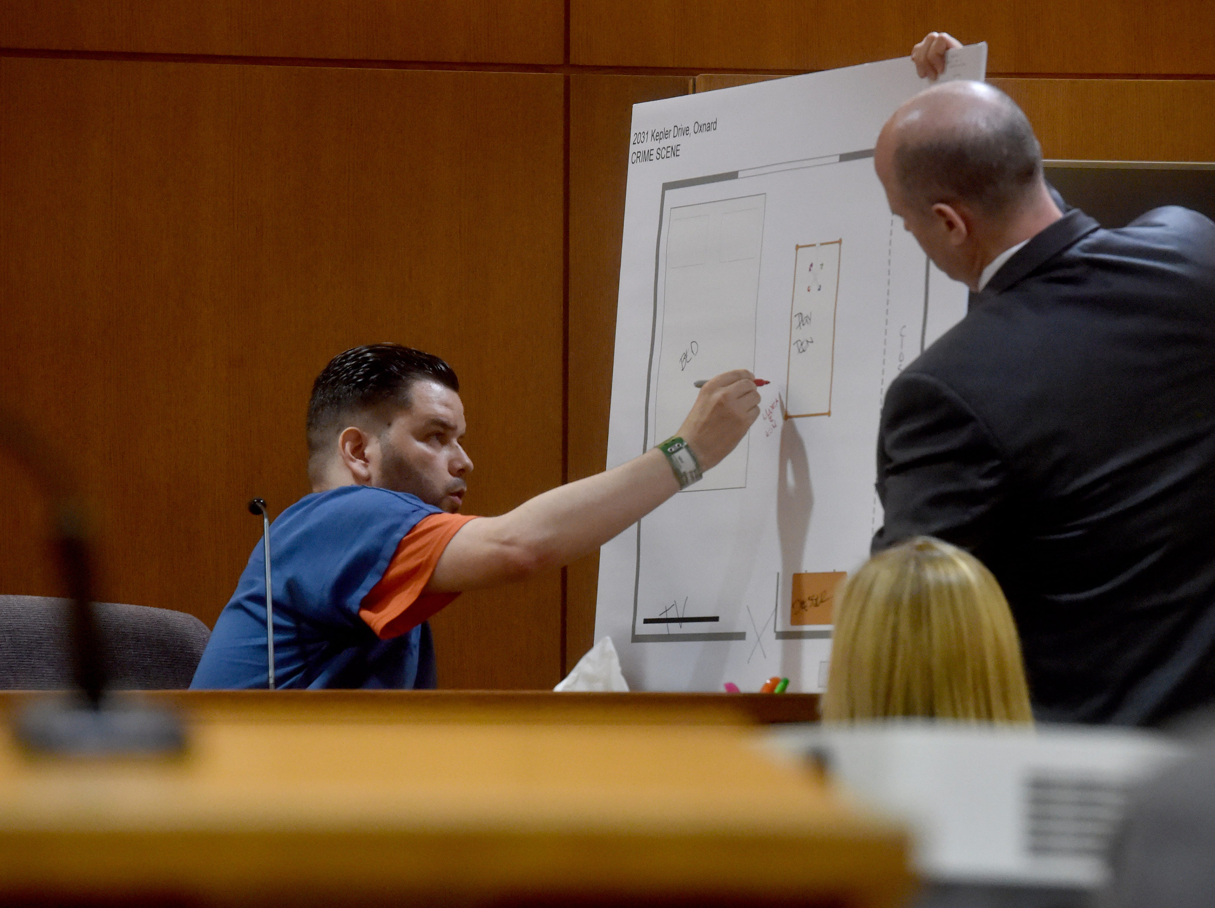 Omar Lopez, of Oxnard, marks locations on a map during testimony Monday in Ventura County Superior Court.