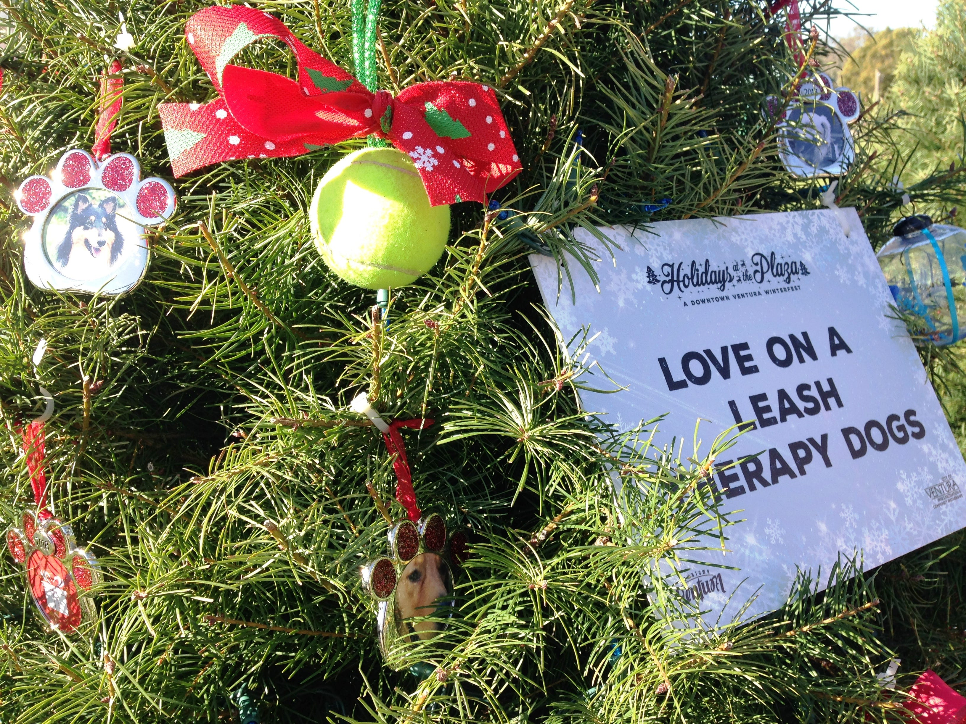 Love on a Leash is among the nonprofit organizations sponsoring a Christmas tree for Holidays at the Plaza, an event at Plaza Park in Ventura running Dec. 7 through Jan. 2. The event showcases more than 100 elaborately decorated trees.