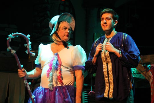 "Michael McCarthy plays Bo-Peep, left, and Bodhi Bourbon plays Dandini in the Ojai Art Center's production of ""Cinderella."""
