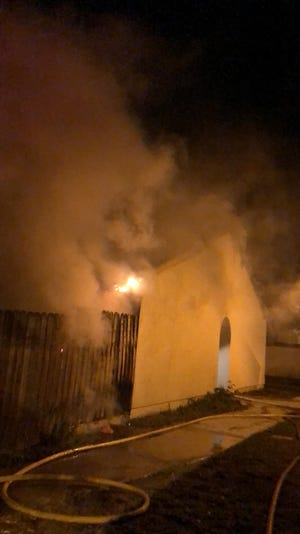 A fire in Ventura Monday night on Cambria Avenue brought numerous firefighters.