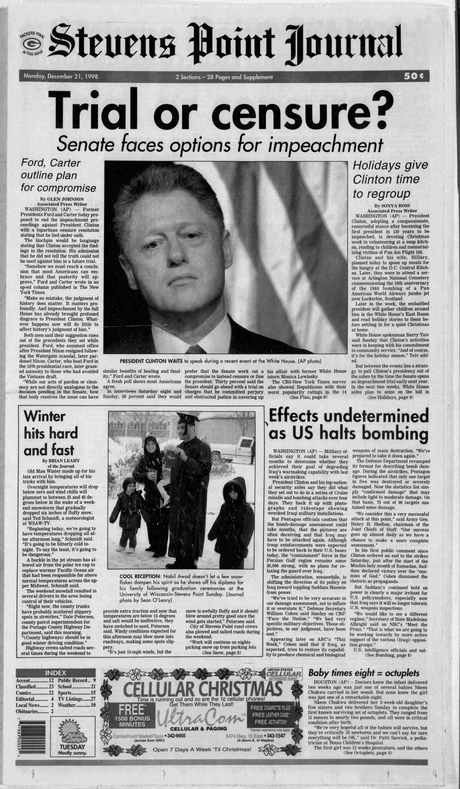 Bill Clinton Impeached See The Front Pages From 20 Years Ago