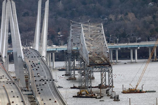 The remaining structure of the Tappan Zee Bridge, at right, photographed from Upper Grandview on Dec. 4.