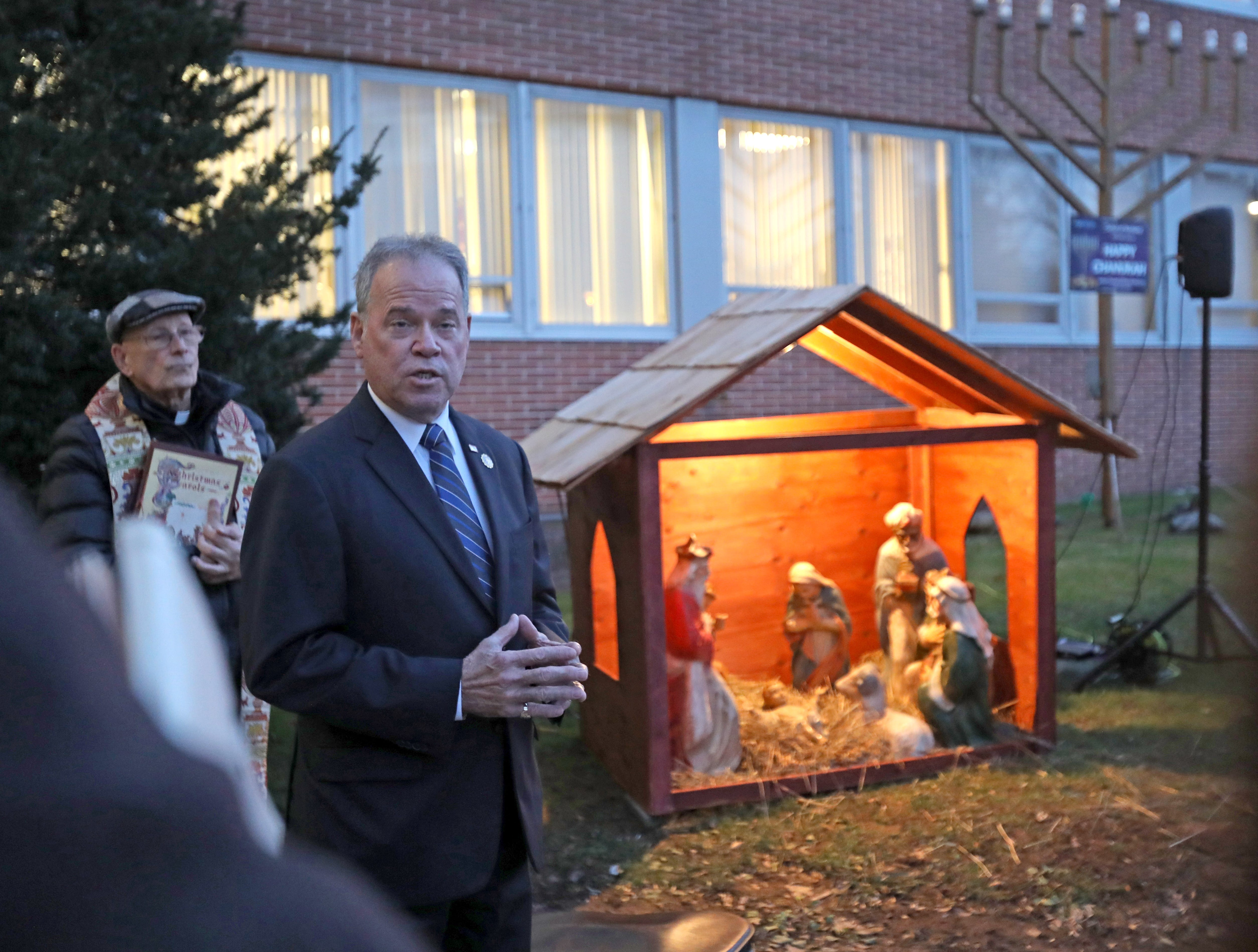 Rockland County Executive Ed Day speaks to local residents attending the The Blessing of the Nativity Creche in front of the Rockland County Office Building in New City Dec. 3, 2018.