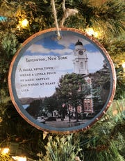 Artist Barbara Beckmann creates hand-painted ornaments featuring her hometown of Irvington. They are available on ETSY.