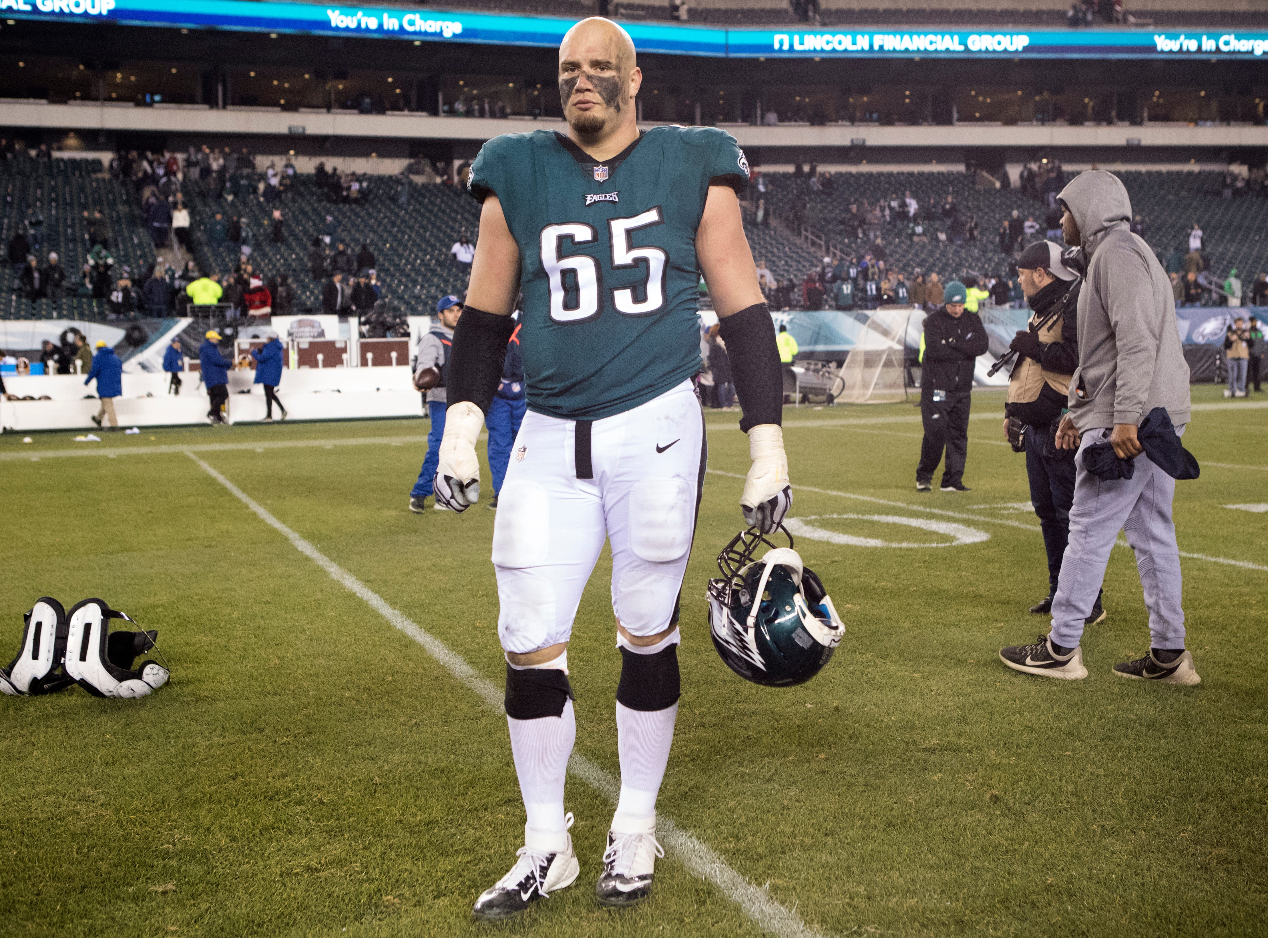 Eagles' Lane Johnson waits to speak to the media after defeating the Redskins 28-13 Monday night.