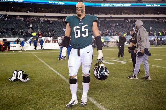 Eagles' Lane Johnson waits to speak to the media after defeating Washington last December.