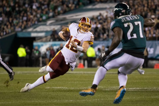 Washington quarterback Colt McCoy broke his fibula on this play against the Eagles on Dec. 3. There's a chance he could return for the rematch against the Eagles on Dec. 30.