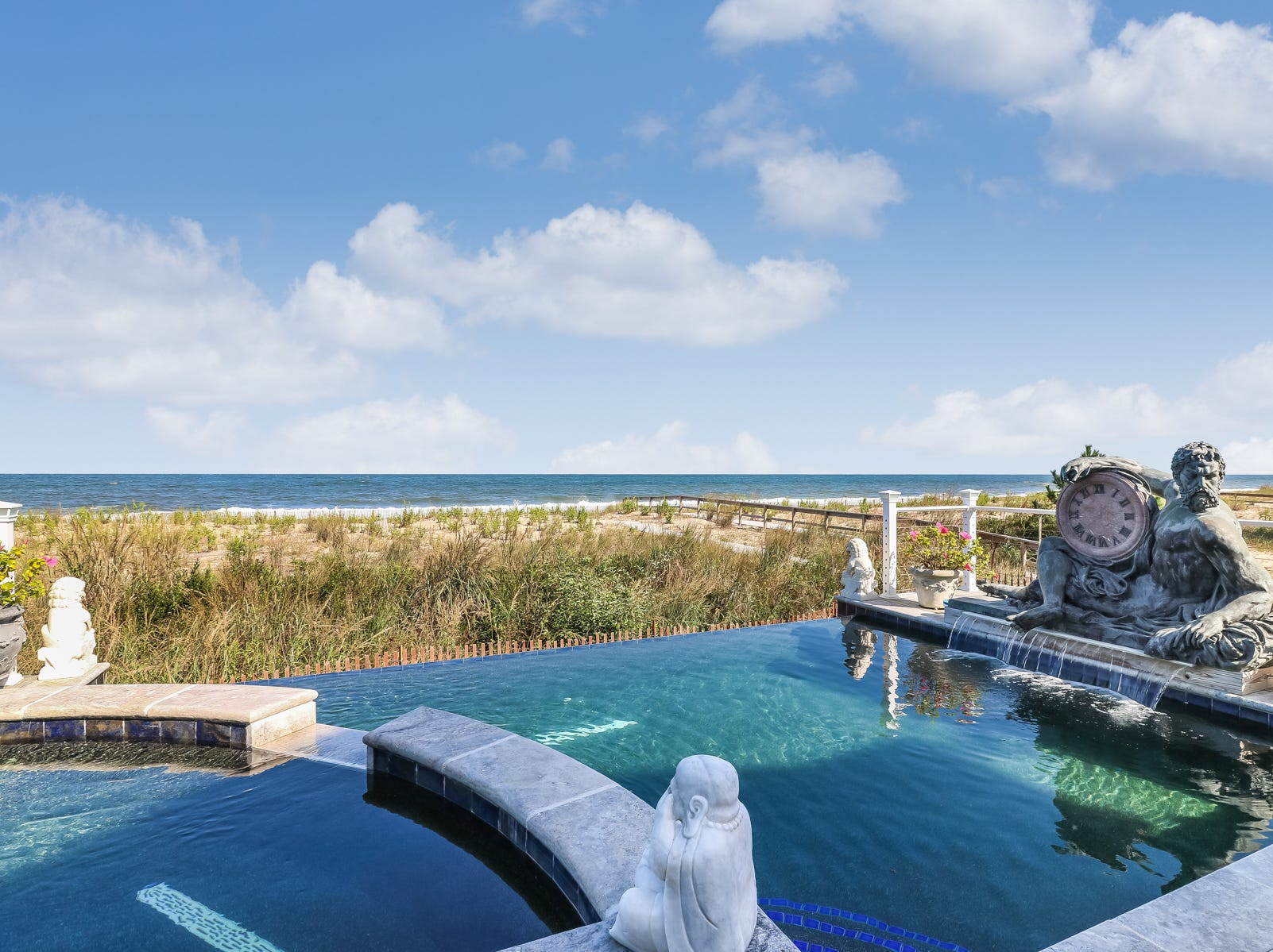 The infinity pool and spa at 18 Ocean Drive in North Beach offer views of the ocean.