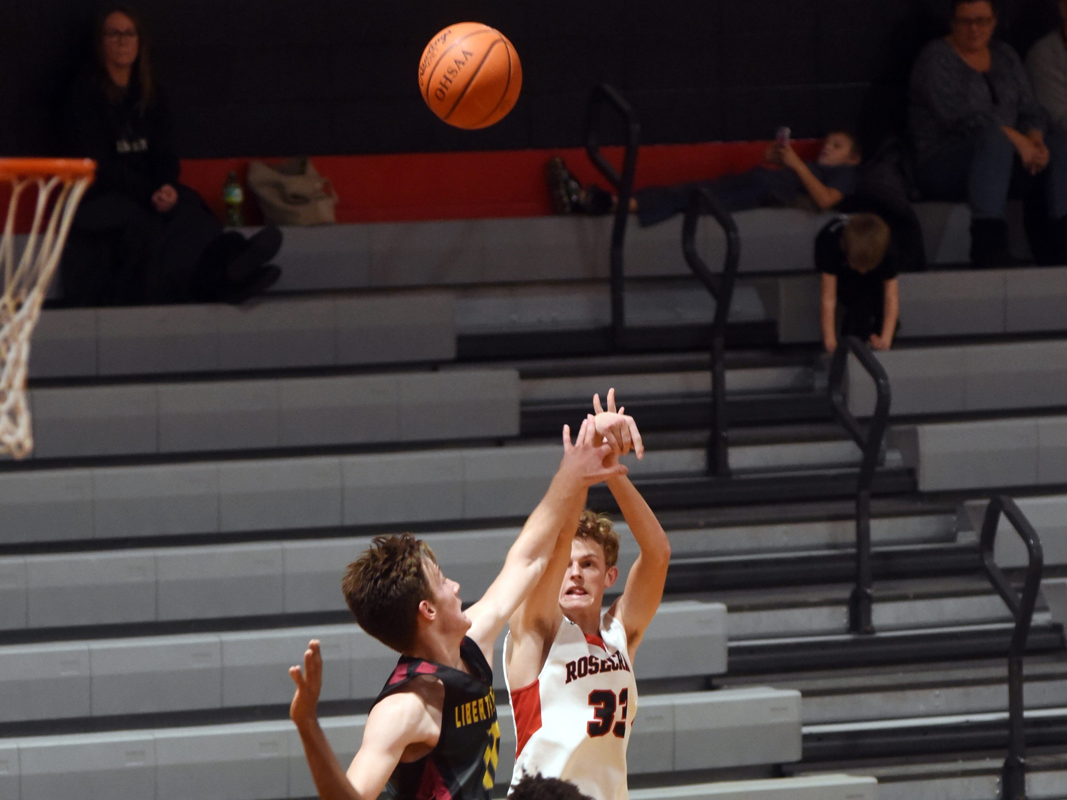 Kaid Brown, of Rosecrans, shoots a 3 during the seocnd half against Liberty Christian on Monday night at Rogge Gymnasium.