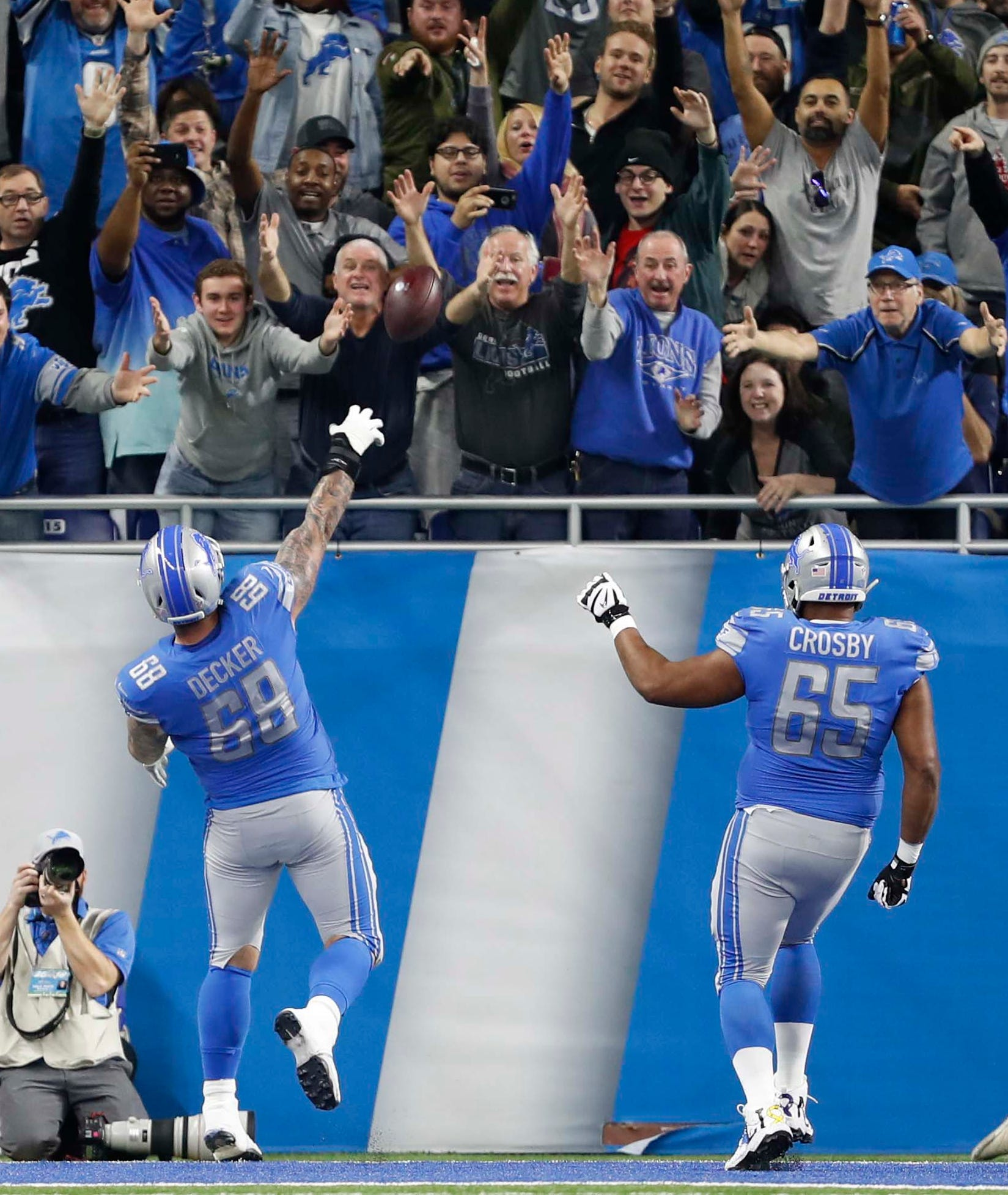 24. Lions (19): Honolulu Blue and silver linings. Taylor Decker found dude who caught ball left tackle chucked into stands after scoring first TD of his life.