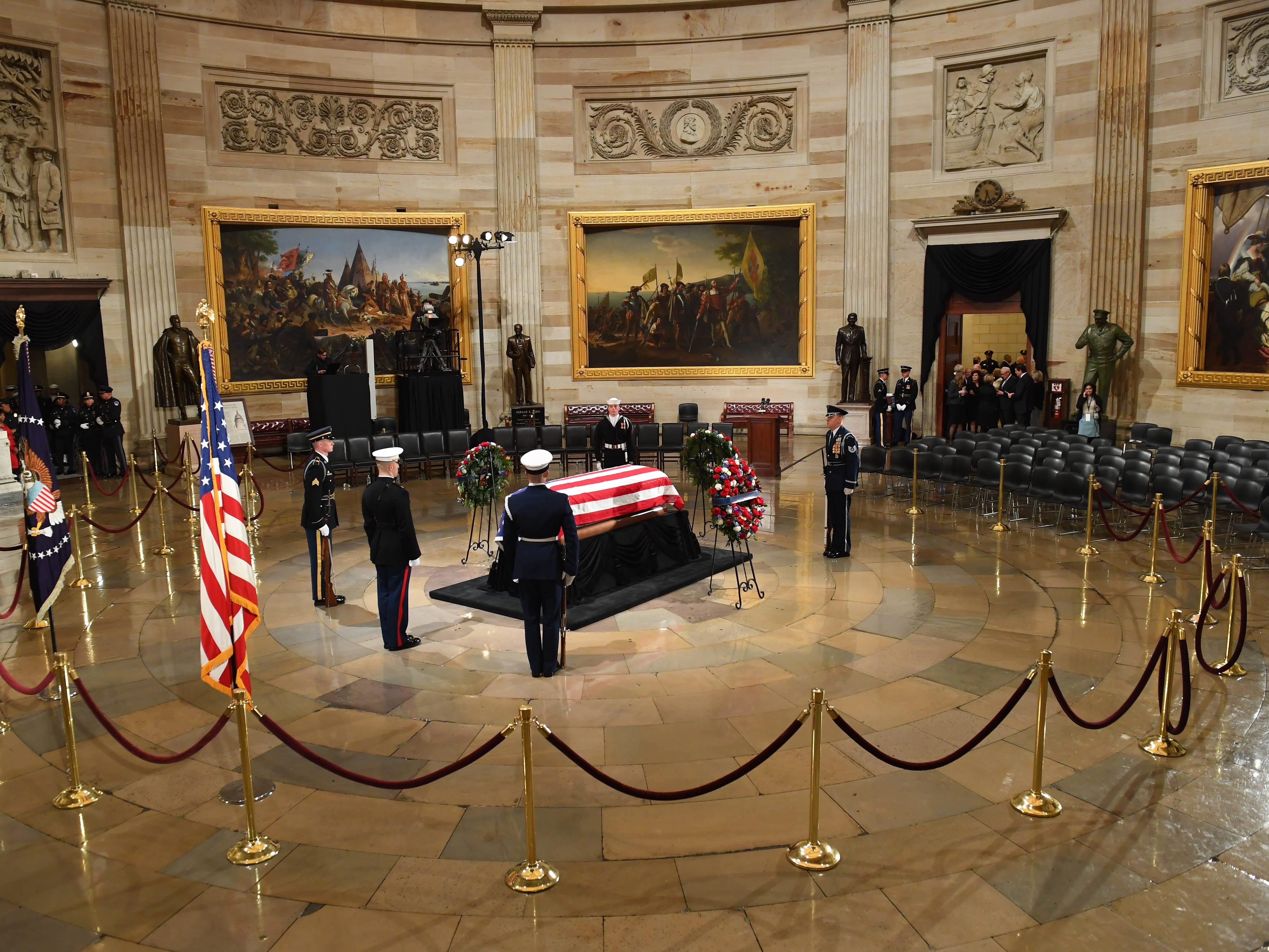 President George H.W. Bush lies in state at the U.S. Capitol Rotunda