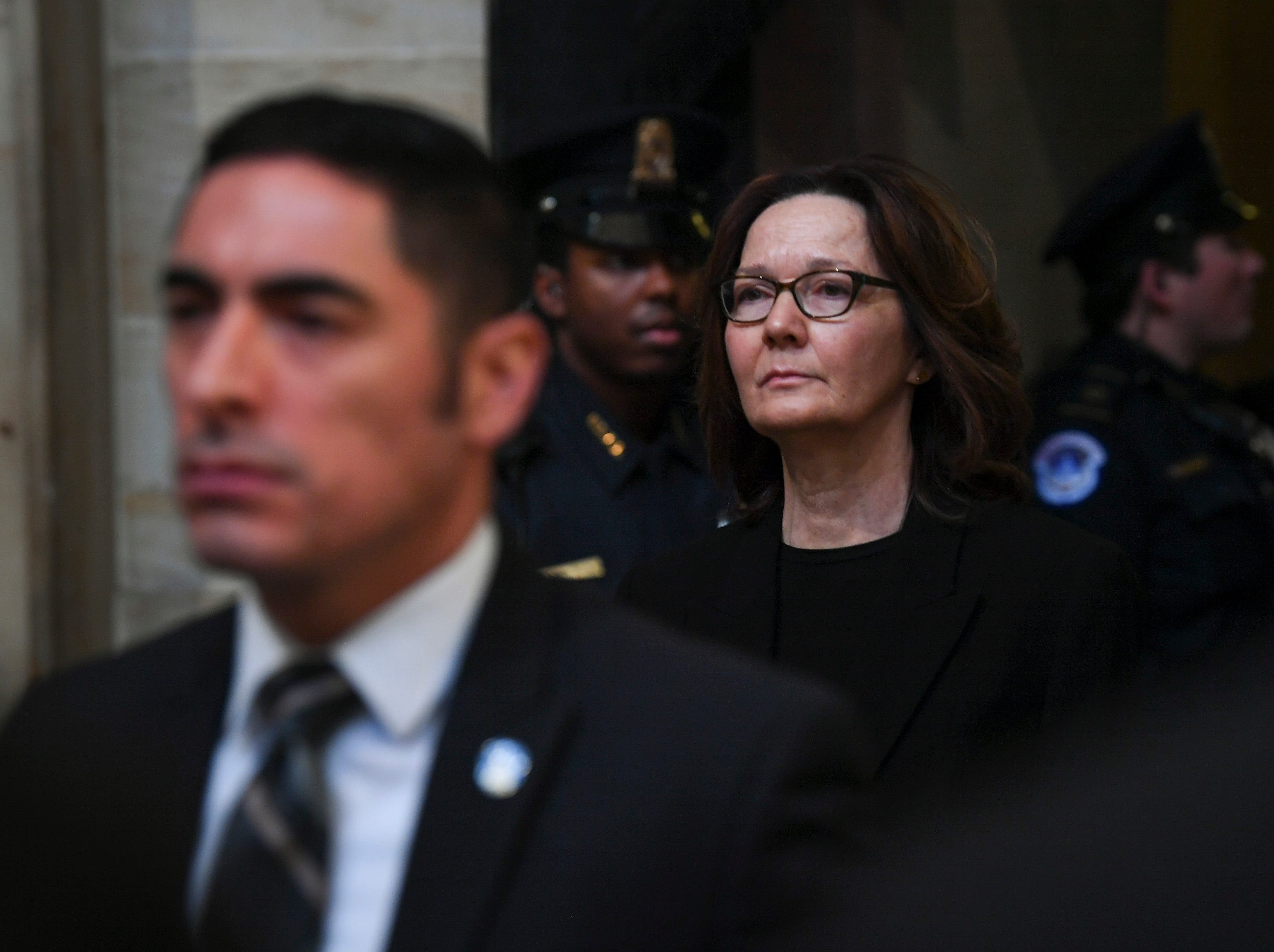 Director of the Central Intelligence Agency Gina Haspel arrives to pay respects to former President George H.W. Bush.