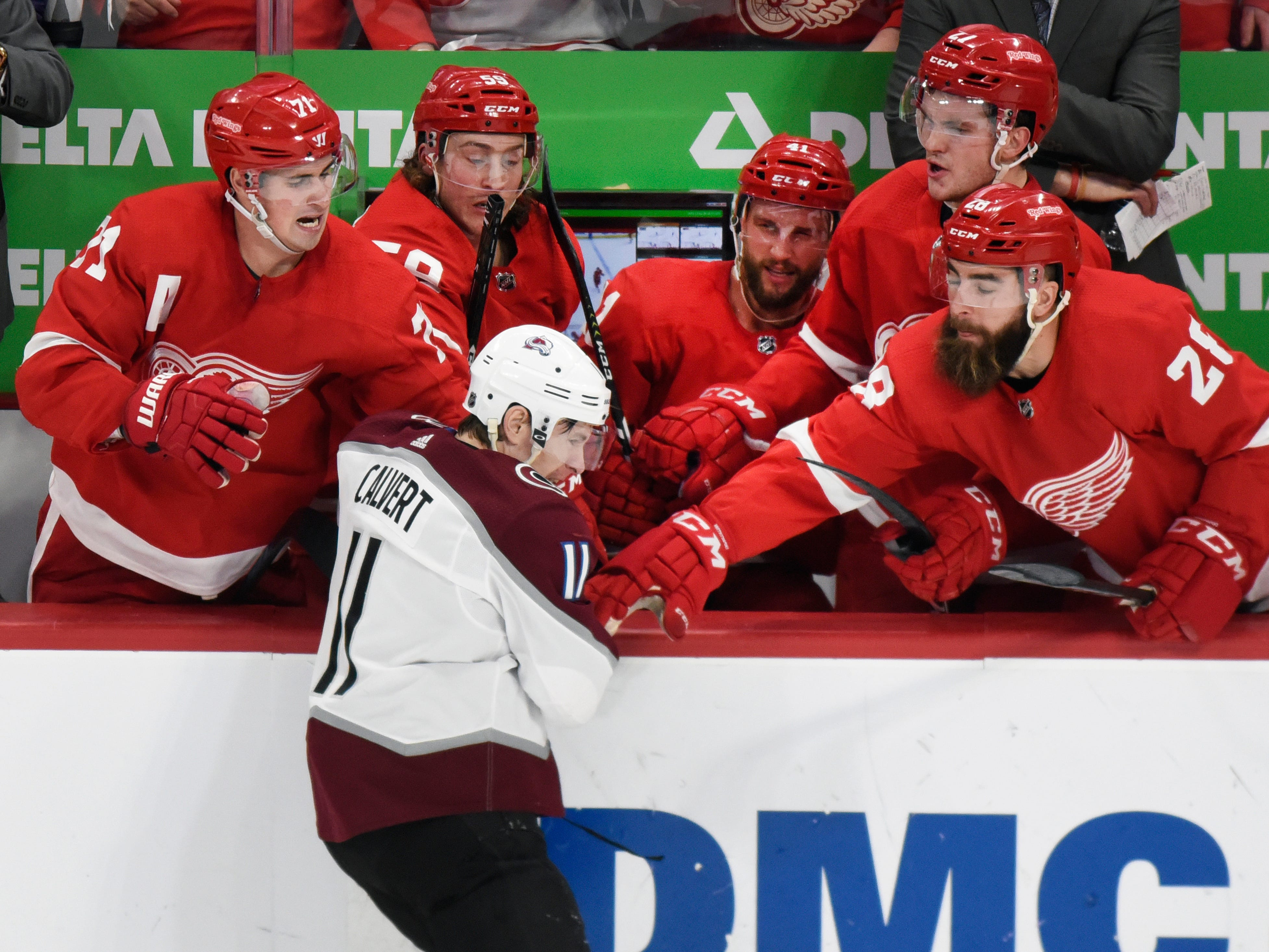 Tyler Bertuzzi (59) was suspended for two games for punching Colorado Avalanche left wing Matt Calvert from the bench. Lost pay: $15,053.76.