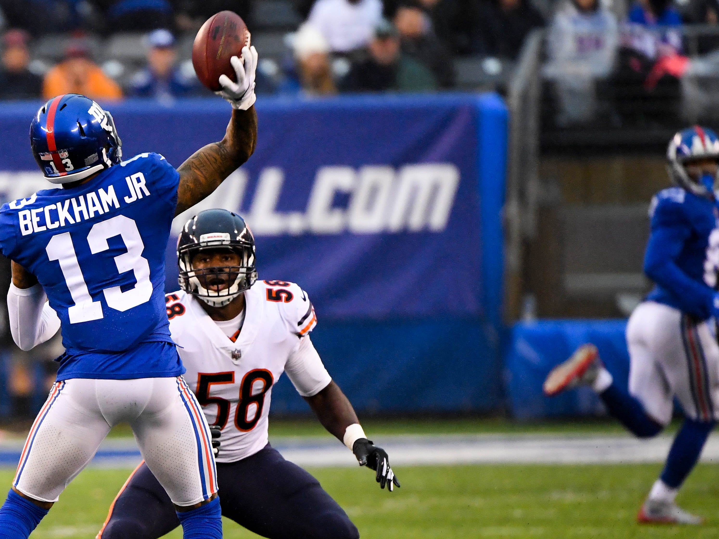 Week 13: New York Giants wide receiver Odell Beckham Jr. throws a touchdown pass to Russell Shepard in the third quarter against the Bears at MetLife Stadium. Th eGiants won the game in overtime, 30-27.