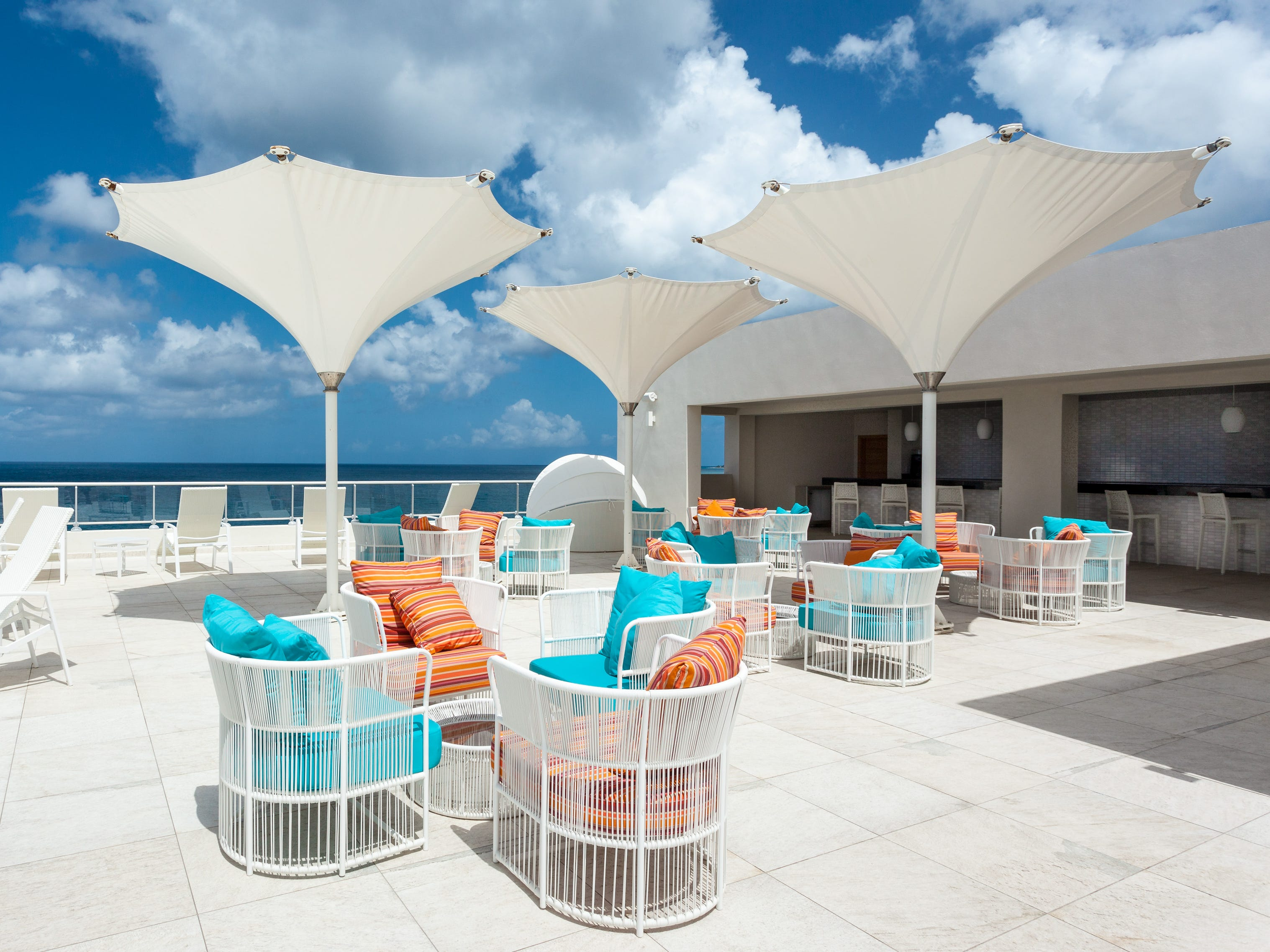 The rooftop Azul Restaurant at Sonesta Ocean Point Resort.