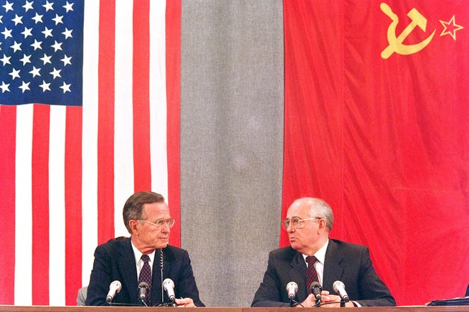 Presidents George H.W. Bush and Mikhail Gorbachev on July 31, 1991, in Moscow.