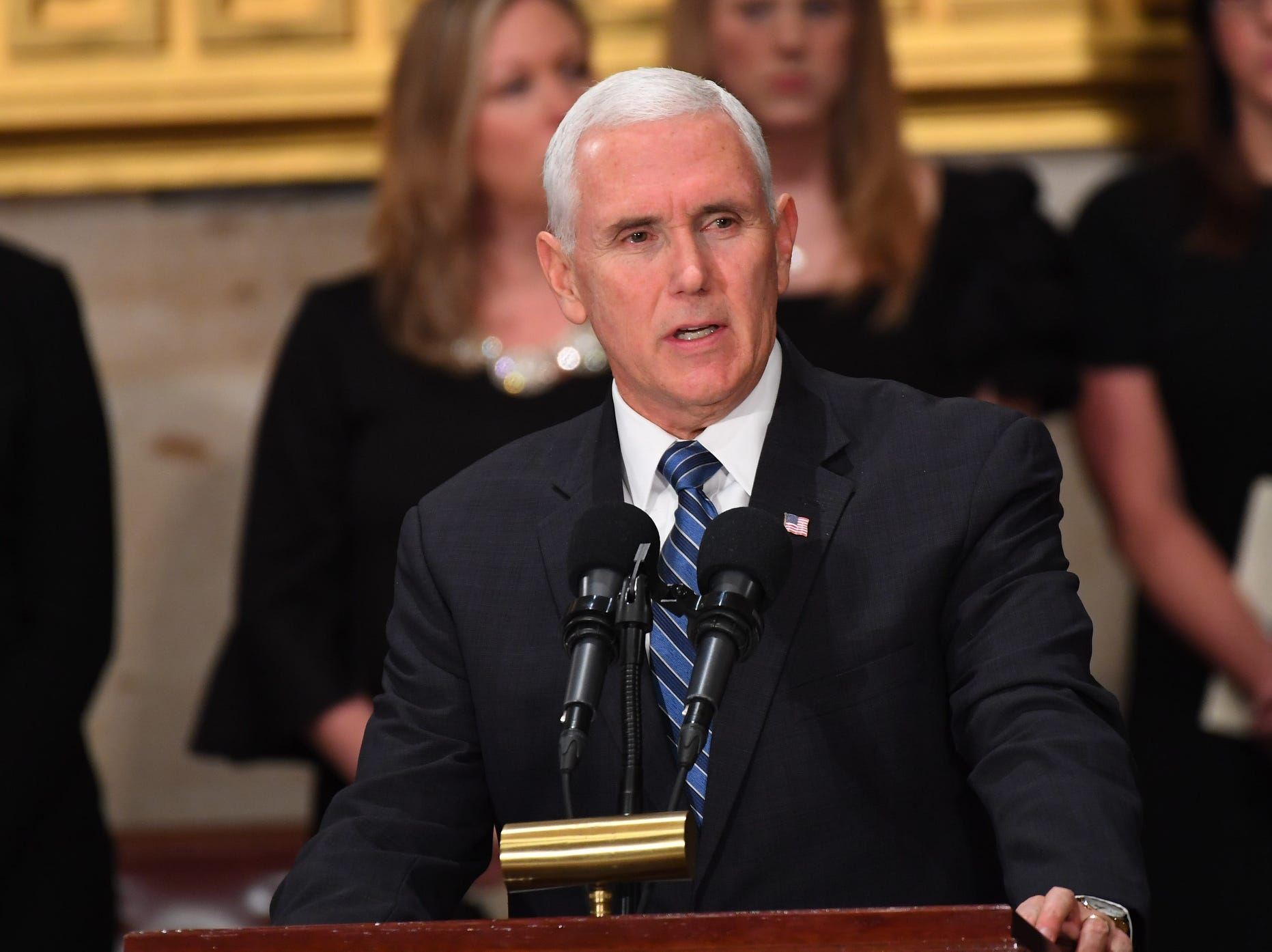 Vice President Mike Pence speaks during the Capitol Rotunda service for the late President George H.W. Bush.