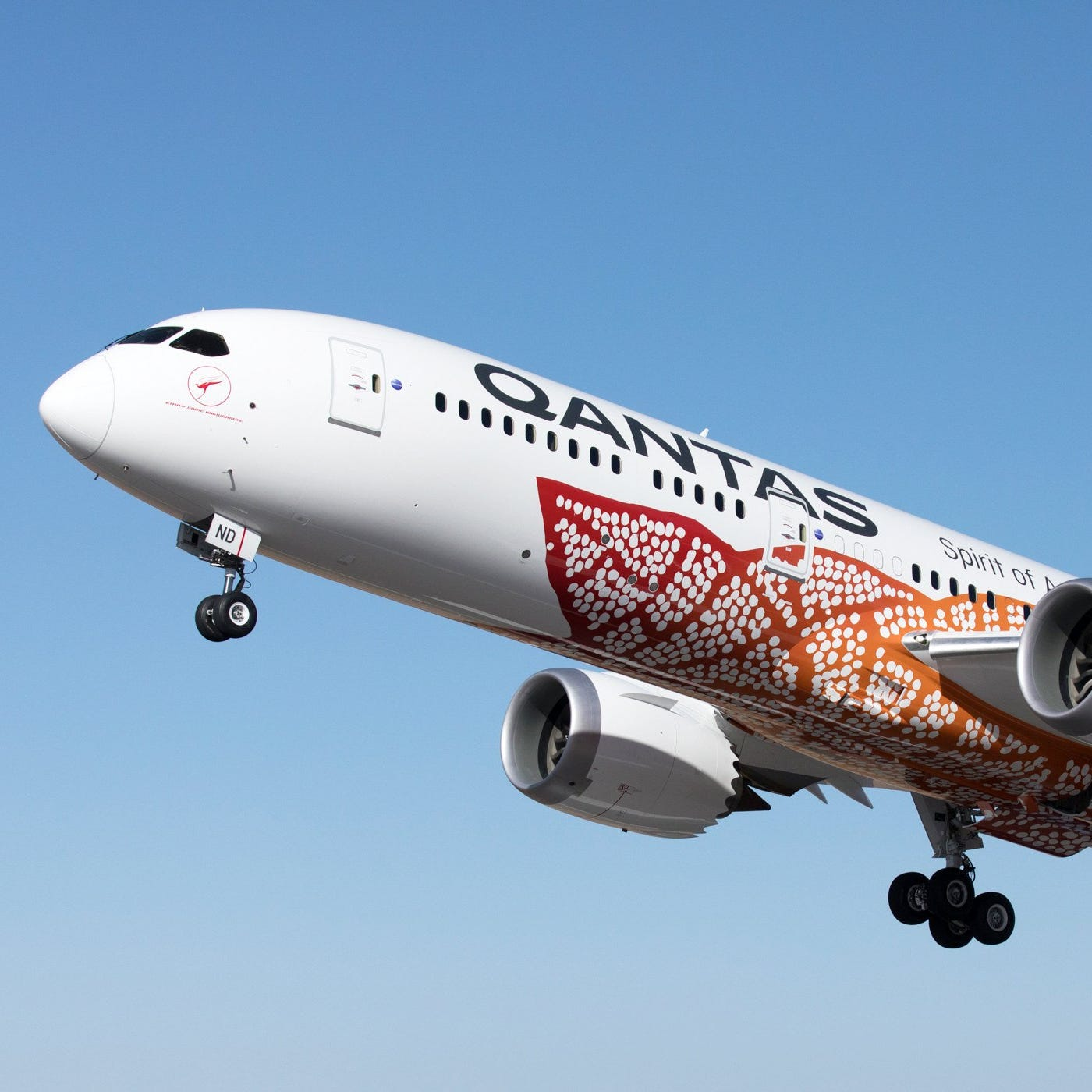 A handout photo made available by Australian carrier Qantas on March 24, 2018 shows Qantas 787-9 Dreamliner 'Emily Kame Kngwarreye'.