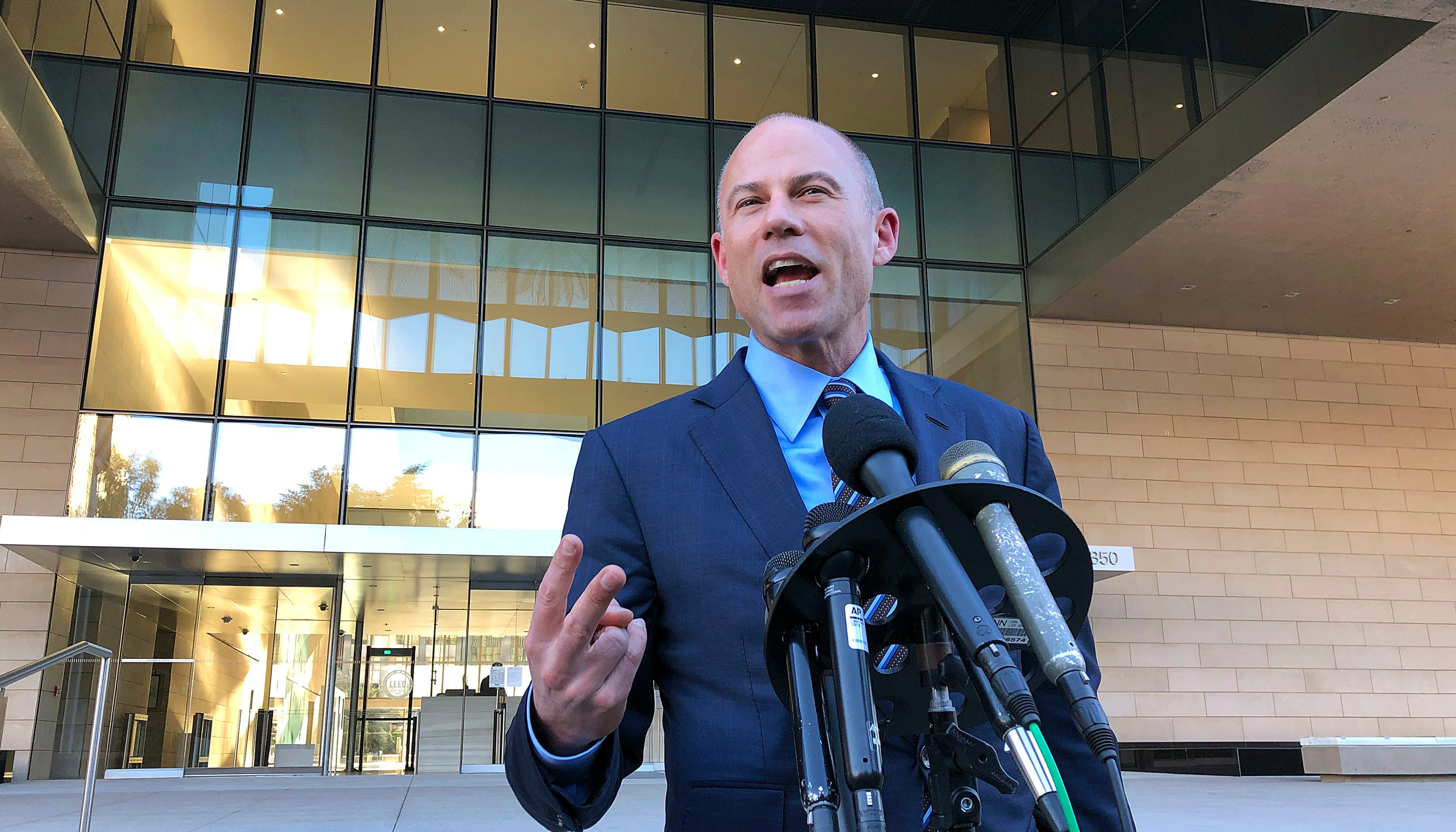 Michael Avenatti, lawyer for porn actress Stormy Daniels, speaks to reporters outside federal court in Los Angeles on Dec. 3, 2018.