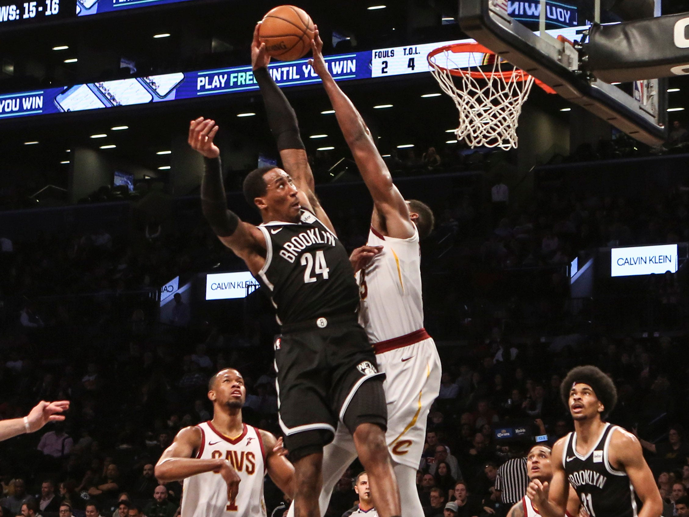 Dec. 3: Nets forward Rondae Hollis-Jefferson (24) thought he had a sweet one-handed flush, but Cavaliers defender Tristan Thompson (13) came through with the big block during the second half in Brooklyn.