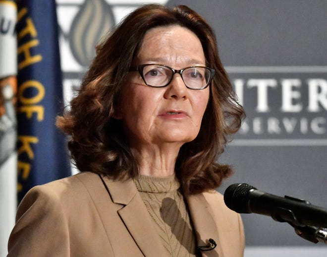 CIA director Gina Haspel is pictured addressing audience members in Louisville, Kentucky.