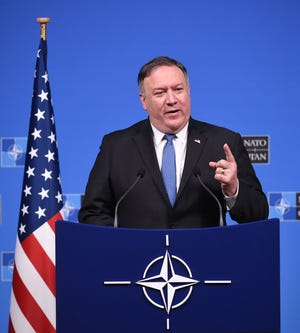 US Secretary of State, Mike Pompeo  talks during a press conference after a NATO Foreign Ministers meeting at the NATO headquarters in Brussels on December 4, 2018.