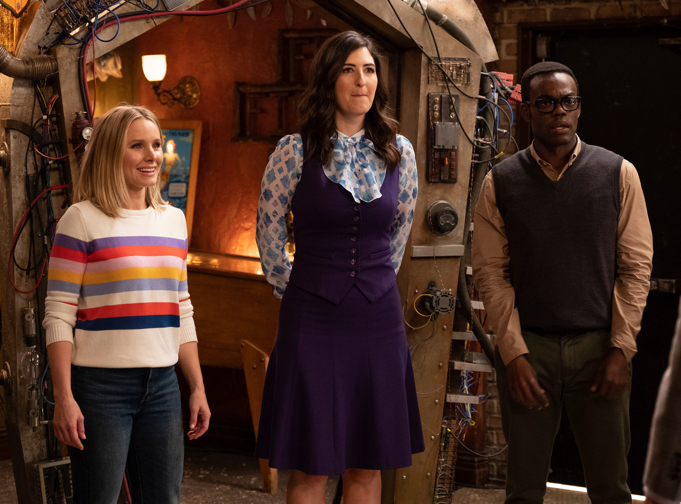 """Kristen Bell, D'Arcy Carden and William Jackson Harper in the second season of NBC's """"The Good Place."""""""