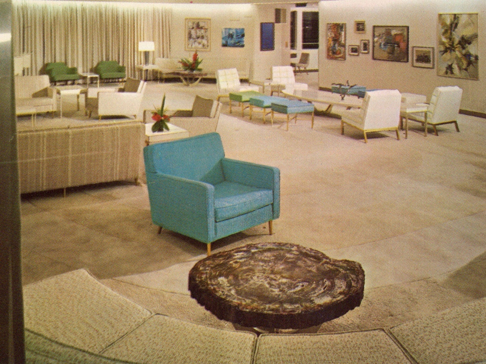 Shown in its original guise, the ellipse-shaped forward Lounge was a comfortable lounge by day and a makeshift cinema at night. The Savannah's ultra-modern interiors were a product of the Connecticut-based Jack Heany and Associates design firm.