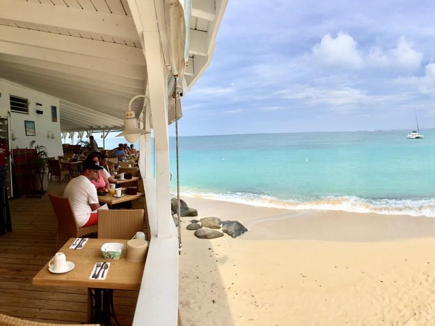 Breakfast at Grand Case Beach Club overlooking Petite Plage Beach.