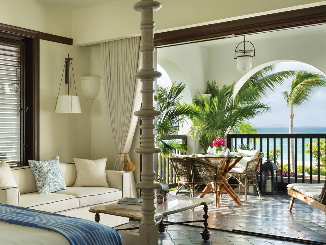 An island mainstay since 1984, the rebuilt Belmond Cap Juluca features elegant rooms and suites.
