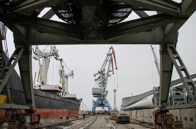 A general view of the seaport in Berdyansk, Azov sea, Ukraine, 3 December 2018. Russia blocked the passage to the Kerch Strait for the Ukrainian tugboat Yany Kapu and two armored naval boats Berdyansk and Nikopol, which were on a scheduled re-deployment from the Black Sea port of Odesa to the Azov Sea port of Mariupol on the morning of 25 November 2018. Russian coast guards opened aimed fire on the Ukrainian boats as were heading back in the Odesa direction after being rejected passage via the Kerch Strait. All 24 crew on board were captured and later remanded in custody for two months, charged with illegal border crossing. Three crewmen were injured in the attack Ukrainian media report.