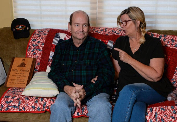 Vietnam Veteran Billy Konrad jokes with his wife Bonnie Konrad during an interview at his home in Anderson in December. Konrad served in the U.S. Marine Corps from 1966 to 1968 during the Vietnam War, and says being exposed to Agent Orange affected his health.
