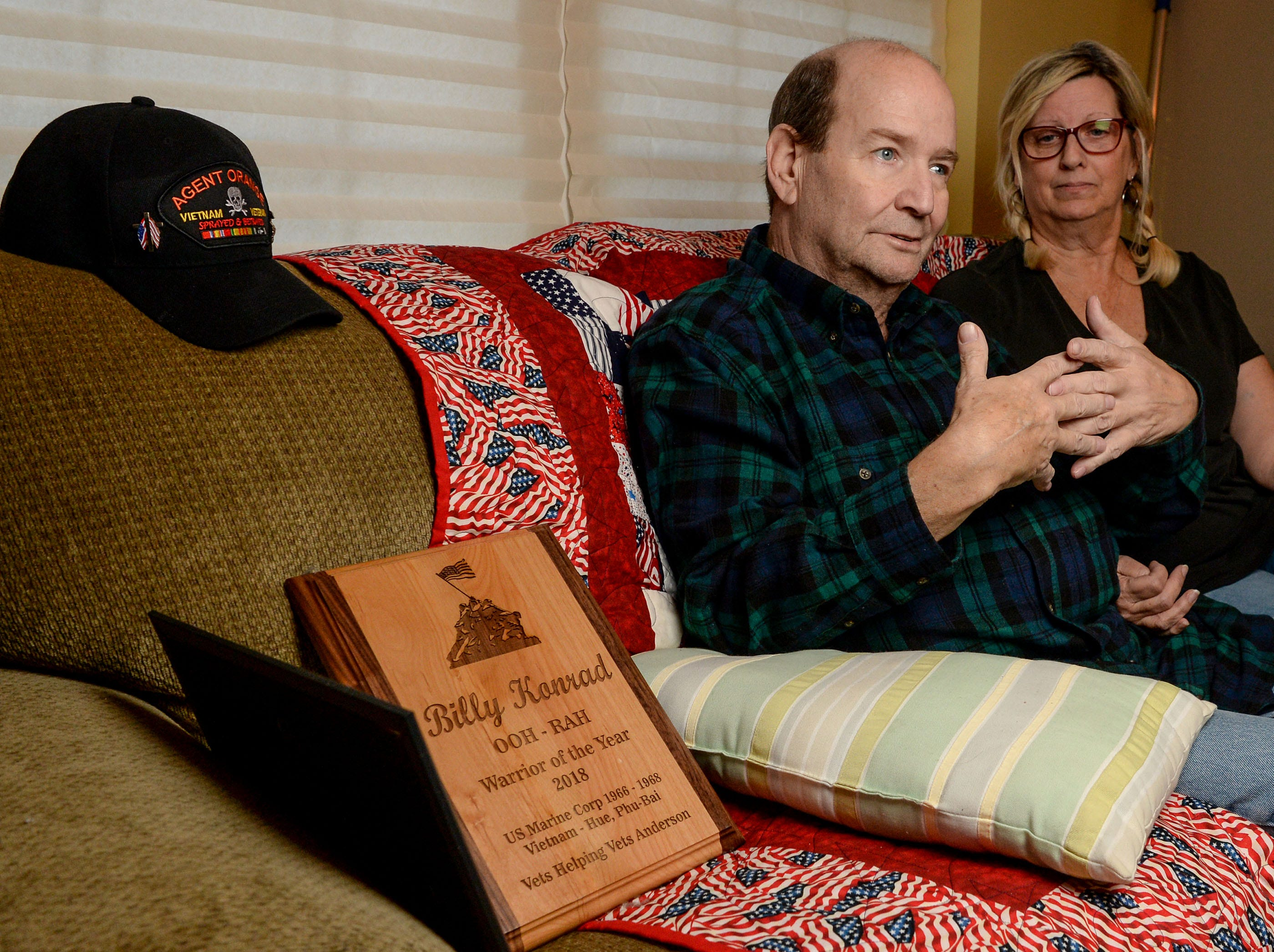 Vietnam Veteran Billy Konrad, left, with his wife Bonnie Konrad, talks about dealing with illnesses, health care, and serving in the U.S. Marine Corps, during an interview at his home in Anderson in December.