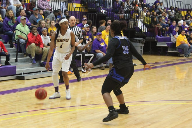 LSU of Alexandria sophomore Danyale Bayonne dribbles during the Generals' game this season against Dillard. Bayonne was named the Conference's Player of the Week.